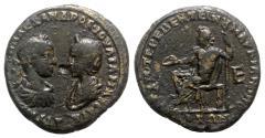 Ancient Coins - Severus Alexander and Julia Mamaea (222-235). Moesia Inferior, Marcianopolis. Æ Assaria - R/ Zeus