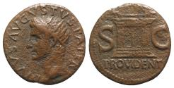 Ancient Coins - Divus Augustus. Died AD 14. Æ As. Rome mint. Struck under Tiberius, circa AD 22/23-30. Radiate head left / Altar, with closed, double-panelled door; acroteria ab