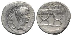 Ancient Coins - Octavian, Military mint traveling with Octavian in Italy, spring-summer 42 BC. AR Denarius. R/ Wreath set on inscribed curule chair RARE