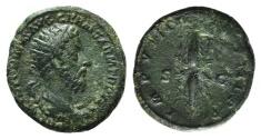 Ancient Coins - Marcus Aurelius (161-180). Æ Dupondius. Rome, AD 177. R/ Winged thunderbolt
