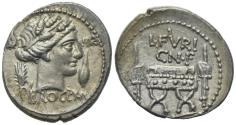 Ancient Coins - ROME REPUBLIC L. Furius Cn.f. Brocchus, Rome, 63 BC. AR Denarius. Head of Ceres R/ Curule chair between fasces EXTREMELY FINE