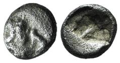 Ancient Coins - Achaemenid Kings of Persia, temp. Xerxes II to Artaxerxes II, c. 420-375 BC. AR 1/32(?) Siglos