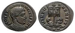 Ancient Coins - Constantine I (307/310-337). Æ Follis - Ticinum - R/ Standard with captives