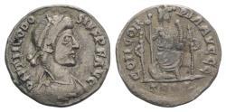 Ancient Coins - Theodosius I. AD 379-395. AR Siliqua. Treveri (Trier) mint. Struck AD 379-383. R/ Constantinopolis seated