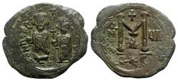 Ancient Coins - Heraclius with Heraclius Constantine (610-641). Æ 40 Nummi - Thessalonica, year 7