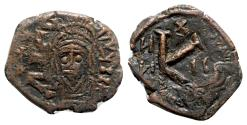 Ancient Coins - Maurice Tiberius (582-602). Æ 20 Nummi - Constantinople - Overstruck on a Justinian I issue