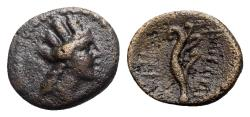 Ancient Coins - Phoenicia, Arados, late 3rd - early 2nd century BC. Æ - Turreted head / Aphlaston