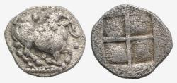 Ancient Coins - Thraco-Macedonian Tribes, Mygdones or Krestones, c. 485-470 BC. AR Diobol. Goat