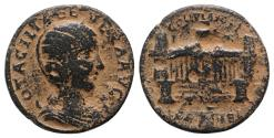 Ancient Coins - Otacilia Severa (Augusta, 244-249). Coele-Syria, Heliopolis. Æ 28mm R/ View of the propylaeum (entrance) of the temple of Zeus Heliopolites VERY RARE