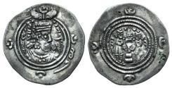 Ancient Coins - Sasanian Kings of Persia. Khusrau II (590-628). AR Drachm. AW (Ohrmazd-Ardaxšīr - Ahwāz), year 30 (619/620).