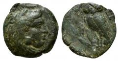 Ancient Coins - ITALY. Northern Lucania, Velia, c. late 5th century BC. Æ 14mm. R/ Owl RARE