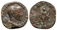 Ancient Coins - Volusian (251-253). Æ Sestertius, Concordia.