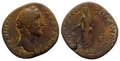 Ancient Coins - Antoninus Pius (138-161). Æ Sestertius - Rome - R/ Emperor sacrificing