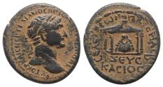 Ancient Coins - Trajan (98-117). Seleucis and Pieria, Seleucia Pieria. Æ 27mm.  R/ Baetyl of Zeus Kasios within tetrastyle temple