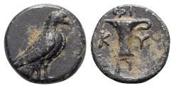 Ancient Coins - Aeolis, Kyme, c. 350-320 BC. Æ - Eagle / One-handled vase