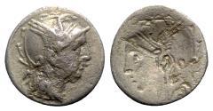 Ancient Coins - C. Claudius Pulcher, Rome, 111-110 BC. Brockage AR Denarius
