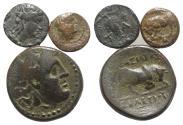 Ancient Coins - Group of 3 Greek Æ coins, including Sicily, Gela (Onkia); Aeolis, Temnos; Seleukid King, Seleukos I (Medusa / Bull)