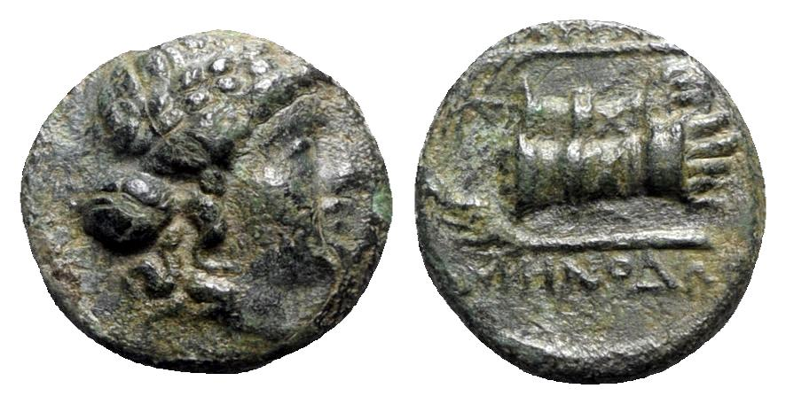 Ancient Coins - Ionia, Smyrna, c. 190-170 BC. Æ - Menodoros, magistrate - Apollo / Hands in caestus
