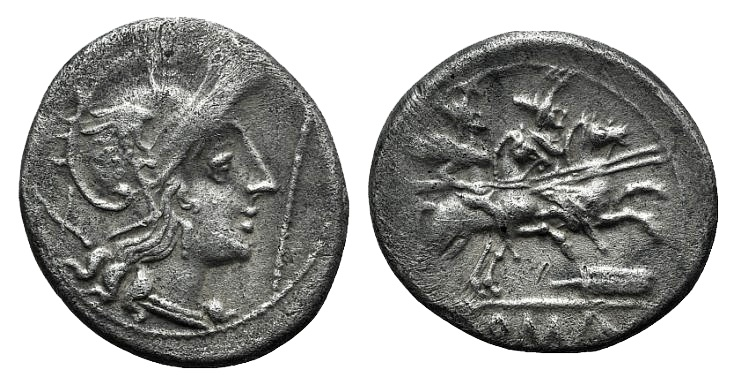 Ancient Coins - Rome Republic Staff and feather series, Uncertain mint, c. 206-200 BC. AR Denarius