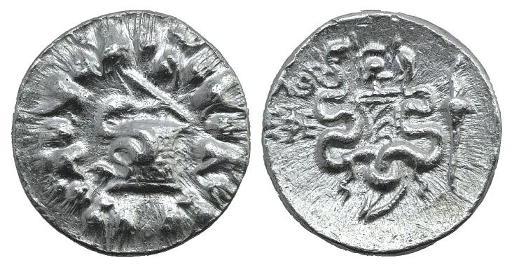 Ancient Coins - IONIA, Ephesos. Circa 180-67 BC. AR Tetradrachm. Dated CY 36 (99/8 BC). Simbol: Helmet. SNG Copenhagen –; DCA 325