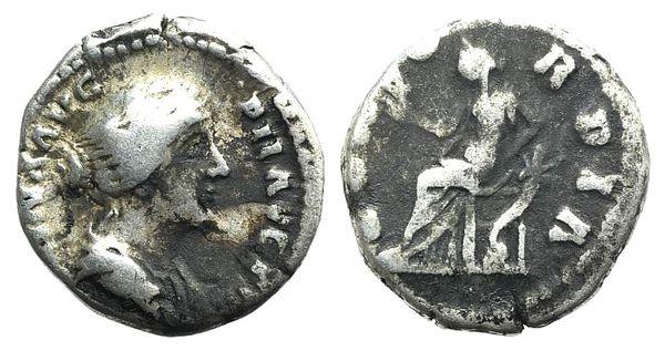 Ancient Coins - Faustina Junior (Augusta, 147-175). AR Denarius. Rome, 152-3. R/ Concordia