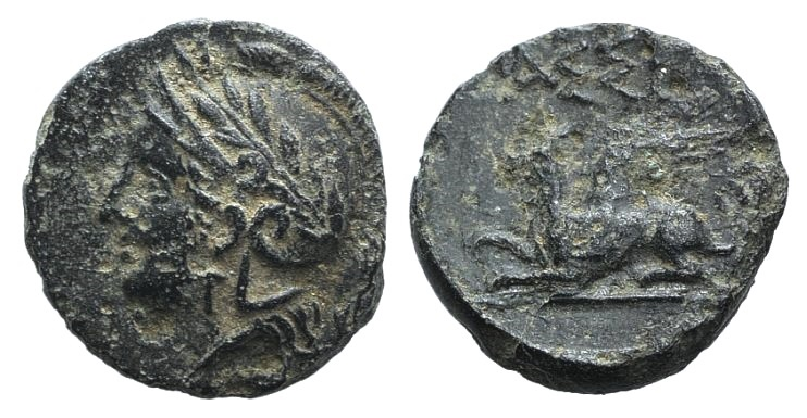Ancient Coins - Troas, Assos, c. 400-241 BC. AE 11mm.  R/ Griffin