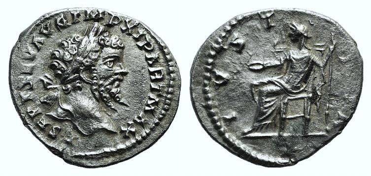 Ancient Coins - Septimius Severus (193-211). AR Denarius. Laodicea, 198-200.  R/ Justitia