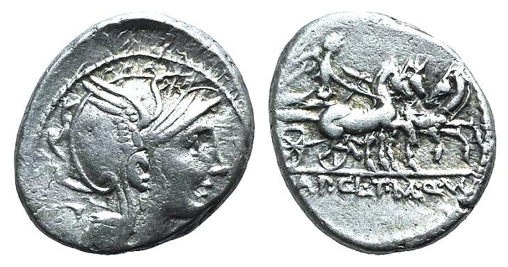 Ancient Coins - Appius Claudius Pulcher, T. Manlius Mancius, and Q. Urbinius, Rome, 111-110 BC. AR Denarius