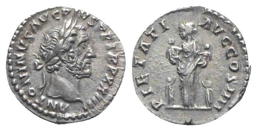 Ancient Coins - Antoninus Pius (138-161). AR Denarius. Rome, 160-1.  R/ PIETAS