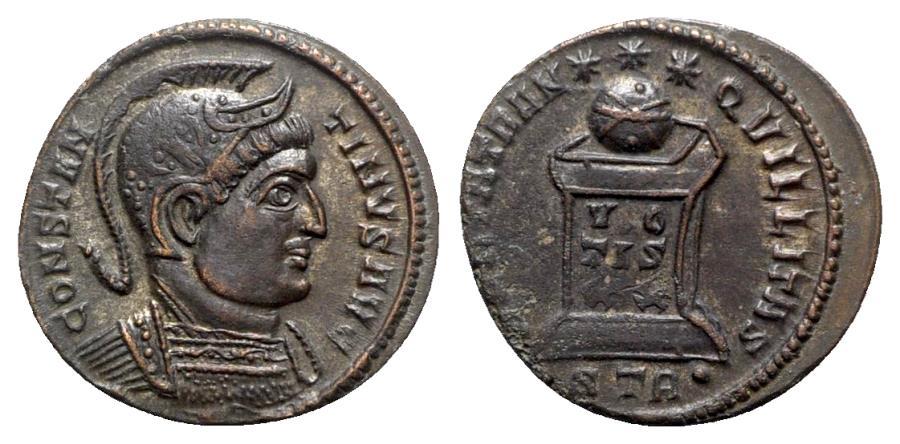 Ancient Coins - Constantine I (307/310-337). Æ Follis - Treveri - R/ Globe on altar