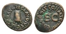 Ancient Coins - Claudius. AD 41-54. Æ Quadrans. Rome mint. Struck AD 42. Three-legged modius