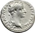Ancient Coins - Tiberius (14-37). AR Denarius 'Tribute Penny', 14-37 AD. Lugdunum mint.