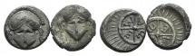 Ancient Coins - Thrace, Mesambria, lot of 2 AR Diobols
