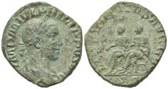 Ancient Coins - Philip II (247-249). Æ Sestertius. Rome, AD 249. R/ Philip I and II seated on sella curulis