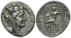 Ancient Coins - Seleukis and Pieria, Laodicea ad Mare, 78/7-17/6 BC. AR Tetradrachm, year 25 (57/6 BC). R/ Zeus seated