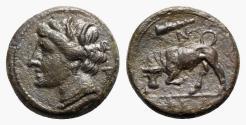 Ancient Coins - Sicily, Syracuse. Hieron II (275-215 BC). Æ 18mm. Head of Kore. R/ BULL