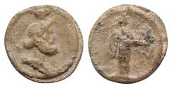 Ancient Coins - Roman PB Tessera, c. 1st century BC - 1st century AD. Bust of Serapis. R/ Isis standing