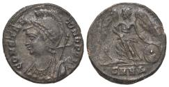 Ancient Coins - Commemorative series, c. 330-354. Æ 17mm. Nicomedia, c. 330-5. Bust of Constantinople. R/ Victory