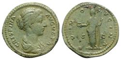 Ancient Coins - Crispina (Augusta, 178-182). Æ As. Rome. R/ JUNO Lovely Green Patina