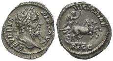 Ancient Coins - Septimius Severus (193-211). AR Denarius. Rome, AD 206. R/ Victory driving galloping biga NICE OLD CABINET TONE