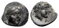 Ancient Coins - Aeolis, Larissa Phrikonis, 4th century BC. Æ, Horner River-God.