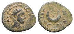 Ancient Coins - Caracalla (198-217). Mesopotamia, Carrhae. Æ 19mm. R/ Six-pointed star within crescent VERY RARE