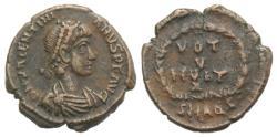 Ancient Coins - Valentinian II (375-392). Æ 15mm. Aquileia R/ VOT V MVLT X
