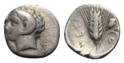 Ancient Coins - Southern Lucania, Metapontion, c. 325-275 BC. AR Diobol with Apollo Karneios