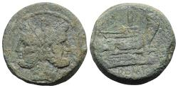 Ancient Coins - ROME REPUBLIC Anonymous, Rome, after 211 BC. Æ As (33mm, 36.26g)  Head of Janus. R/ Prow of galley