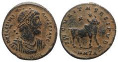 Ancient Coins - Julian II (360-363). Æ 28mm (Double Maiorina). Antioch, 361-3.  R/ Bull