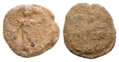 Ancient Coins - Roman PB Tessera, c. 1st century BC - 1st century AD (14mm, 2.47g). Mercury