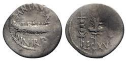 Ancient Coins - Mark Antony, Patrae(?) Autumn 32-spring 31 BC. AR Legionary Denarius. Praetorian galley. R/ Legionary aquila between two signa
