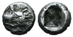 Ancient Coins - Cilicia, Uncertain, c. late 5th century BC. AR Tetartemorion (5mm, 0.18g). Crowned head of Persian king r. R/ Rough incuse square. Troxell & Kagan 16 var. (head l.); SNG BnF -; SNG