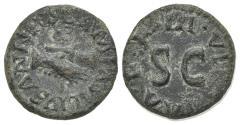 Ancient Coins - Augustus (27 BC-AD 14). Æ Quadrans. Rome; Lamia, Silius and Annius, moneyers, 9 BC. Clasped right hands holding caduceus. R/ Legend around large S • C.